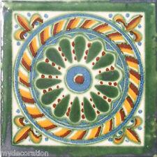 C#051) MEXICAN TILES CERAMIC HAND MADE SPANISH INFLUENCE TALAVERA MOSAIC ART