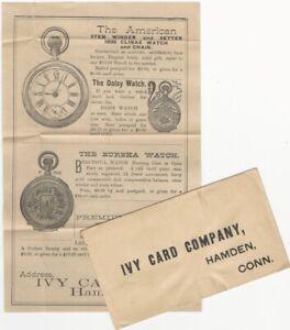 Hamden Connecticut Ivy Card Co. Printed Envelope & Pocket Watch Premium Insert
