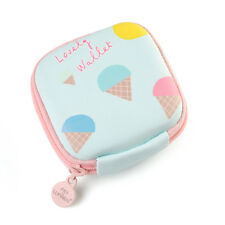 Cute Pattern Small Leather Mini Wallet Card Holder Zip Coin Purse Clutch Handbag