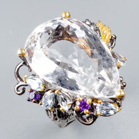 Handmade35ct+ Natural Quartz 925 Sterling Silver Ring Size 8/R124760