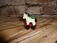 Vintage Wooden Wood White Horse on Red Wagon Ornament Holiday Decoration