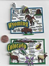 WYOMING and COLORADO STATE MAP JUMBO MAGNETS 7 COLOR   NEW USA  2 MAGNETS