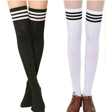 Fashion Sweet Girls Woman's Thigh High Striped Cotton Socks Over Knee Stockings