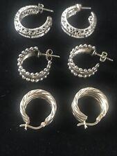 Vintage Authentic Art Deco Sterling Silver Lot of3 Pairs Hoops Pierced Earrings