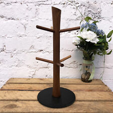 New Acacia Wood & Slate Mug Tree Cup Holder Stand Kitchen Storage Organiser Rack