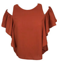 Zara B&W Collection Burnt Sienna Cold Shoulder top Blouse Ruffled Junior Size 5