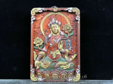 "8.4"" Tibetan Buddhism blood stained ebony carving White Tara Amulet"