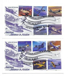 3916-25 37c Advances in Aviation, Vienna, VA, on 2 Artcraft FDCs