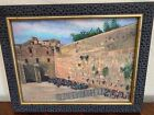 Impressionist Oil painting  Wailing Western Wall Judaica signed Egry 15x19
