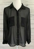 Forever 21 Top Womens Small S Black Solid Button Long Sleeve Sheer Collared