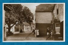 C1920s RP PC MARKET INN, ALFRISTON UNUSUAL VIEW - PEOPLE, OLD CARS