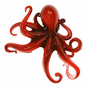 Coastal Sea Creature Red Octopus 9 Inch Wall Decor Resin Plaque