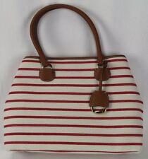 Ralph Lauren Red Stripe Canvas Faux Leather Purse NWT  198 4a5a18565756e