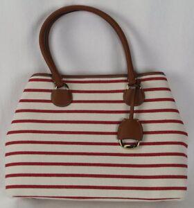 Ralph Lauren Red Stripe Canvas Faux Leather Purse NWT $198