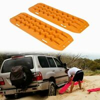 2Pcs Recovery Tracks Sand Tracks Traction Snow Tire Off Road Ladder Orange Pair