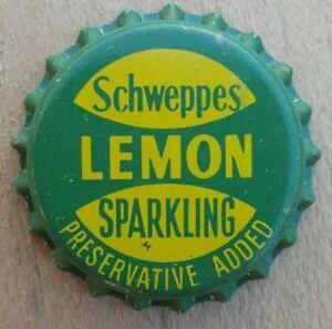 SCHWEPPES SPARKLING LEMON Unused Bottle Cap Top 1960's Soft Drink