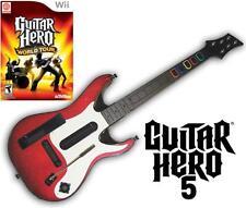 NEW Nintendo Wii Guitar Hero 5 Wireless Guitar & GH World Tour Game Bundle RARE