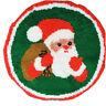 "Vintage Christmas Tree Skirt Latch Hook Santa 34"" Round Handmade"