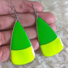 Plate Charm Dangle Drop Hook Earrings New Fashion Womens Neon Green Yellow Metal