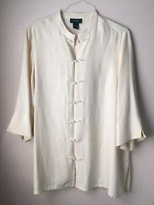 Lauren By Ralph Lauren Plus 2X 100% Slk Ivory Chinese Style Tunic Dressy Top
