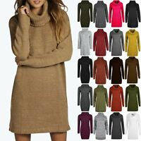 New Ladies Womens Speckle Knitted Oversize Cowl Neck Baggy Jumper Top Mini Dress