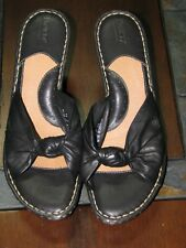 Born Sz 11 M W Leather Black Mules Sandals Slip On Wedge Heel Platform Shoes