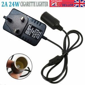 UK 240V Mains Plug to 12V Socket Adapter Power Converter Car Cigarette Lighter