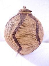 """LARGE 14"""" Hand Woven Mbukushu Tribe Botswana Coiled Ovoid Lidded Basket"""