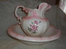 Vtg~Antq Hand-Painted Porcelain Victorian Pink Rose Pitcher & WashBowl Basin Set