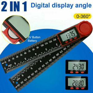 """2 in 1 Digital Angle Finder Ruler 7"""" Protractor 200mm Plastic Angle Gauge Xmas"""