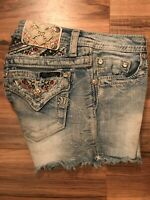 Miss Me Girls Jean Signature Shorts Size 27 Embroidered Bling  KE7151h4 SZ 16