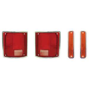Tail Lamp & Side Marker Light Kit w Chrome Trim for 73-80 Chevy GMC Blazer Jimmy