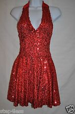 New Adult size Small Red  sequin Performance halter Dance Recital  Stage  Dress