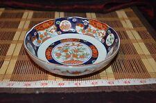 """Asian Porcelain Blue Orange Floral Design Bowl 6 1/8""""x1 7/8"""" Marked"""