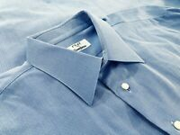 Fray Neiman Marcus Mens MOP Button Cotton Dress Shirt Blue Herringbone Size 17