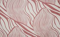 K68-3 White Red / White Brown Wave Stripe Print Silk Cotton Fabric by the Metre