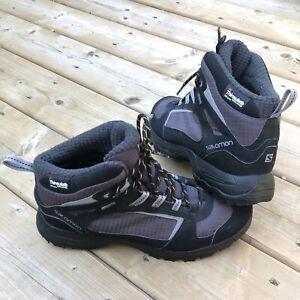 Salomon Contragrip Gortex 200 Gram Mens Mid Hiking Boot Size 9.5 Black- Clean