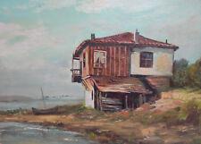 Antique impressionist oil painting seascape landscape house