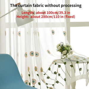 Sunflower Embroidery Lace Floral Curtain Mesh Voile Fabric Panel Drape Divider