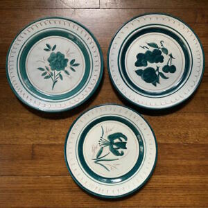 "3x RARE blue-green color Stangl pottery fruits & flowers 10"" plates"
