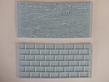 2pc Cake Decoration Border Fondant Wall Brick Wood Grain Mold Mould Embosser UK