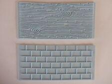 2pc para Decoración de Pasteles Fondant pared de ladrillo de frontera Grano De Madera Molde Molde Estampador UK