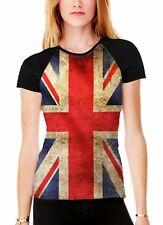 Union Jack British Flag Women's All Over Graphic Contrast Baseball T Shirt