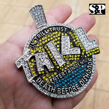 HIP HOP RAPPER'S ICED OUT LAB DIAMOND WHITE GOLD PLATED LARGE TRILL ENT. PENDANT