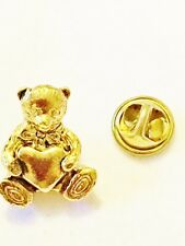 Lapel Cathedral Art Pin Free Shipping New Gold Plated Teddy Bear Heart TieTac