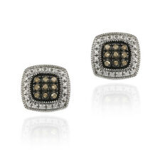 Sterling Silver 1/5ct Diamond Square Earrings, 2 Colors
