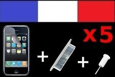 5 LOTS BLANCS anti-poussière + 5 FILM DE PROTECTION ECRAN iphone bouchon 3G 3Gs