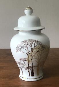 Lidded Urn Vase Ginger Jar Vintage Yamaji Tree Design Gold Ascents Made In Japan