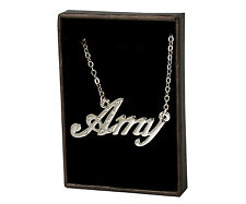 "Name Necklace ""AMY"" - 18ct White Gold Plated - Accessories Christmas Birthday"