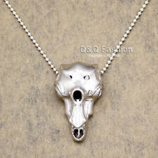 Fab Silver Raven Bird Skull Steampunk Bead Chain Bellatrix Lestrange Necklace H9